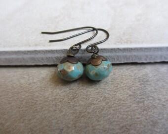 Small Green Earrings, Czech Glass, Antiqued Brass, Rondelle, Lightweight Earrings, Irisjewelrydesign