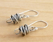 Sterling Silver Earrings, Wire Wrapped, Simple, Mini Twistie Beads, #3963