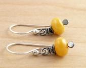 Amber Earrings, Yellow Gemstone Earrings, Sterling Silver, Amber Dangle Earrings, Golden Yellow, Everyday Earrings, #4338