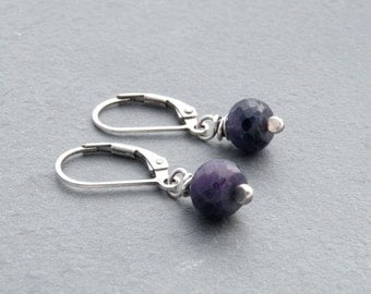 September Birthstone, Blue Sapphire Dangle Earrings, Sterling Silver, Sapphire Earrings, Lever Back Ear Wires, Small Drop Earrings, #4712S