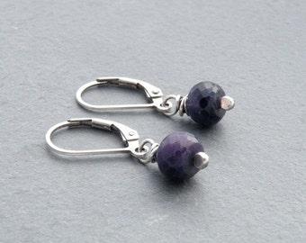 Sapphire Earrings, Blue Gemstone Earrings, September Birthstone Earrings, Sterling Silver, Petite Earrings, Lever Back Earrings, #4712