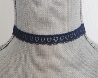 Navy Blue Lace Choker Necklace, Vintage Lace Choker Necklace,Choker,Navy BlueChoker Necklace, Hipster, Boho,Costume Choker