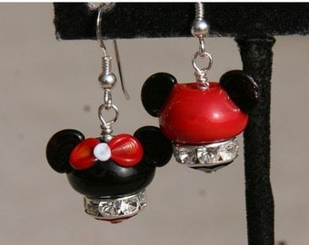 BACK 2 SCHOOL SALE Disney Style Hats  Mouse Ears  Magical Couple One Mickey and One Minnie Mouse Lampwork DeSIGNeR EaRRiNgs