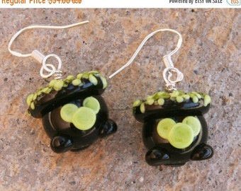 BACK 2 SCHOOL SALE Disney Inspired Halloween Witches Cauldron Mickey Mouse Style Sra Lampwork DeSIGNeR Earrings