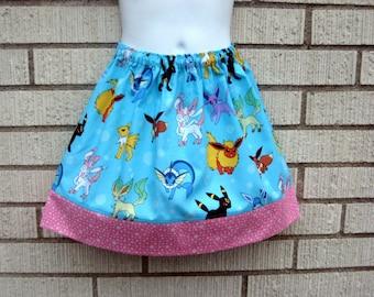 Blue Evee Evelution, Pokemon skirt, Pokemon Go skirt, girls 6M to size 7