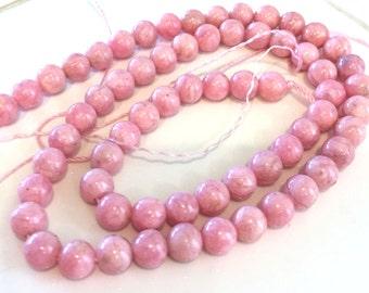 "Pink rhodochrosite 6 mm Strand Beads 15"""