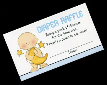 Diaper Raffle Tickets - Diaper Raffle Inserts - Baby Shower Game - Baby Boy Holding Moon and Stars - Blue - Set of 25