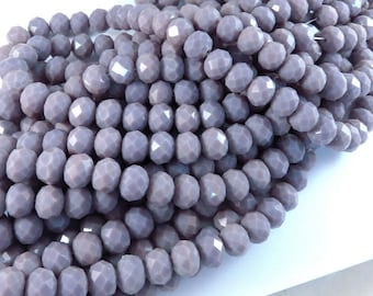24 Purple Opaque Glass Beads Faceted Large Rondelle Abacus 10x8mm - 24 pc - G6010-PF24