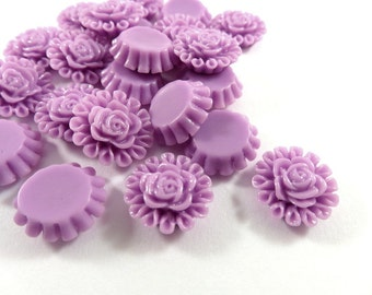 SALE - 25 Orchid Resin Cabochon Beads Flower Fushia 13mm - No Holes - 25 pc - CA2012-OD25