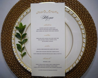 PRINTED WEDDING MENU   Gold and Black Table Menu   Wedding Table Menu   Autumn Wedding Menu   Elegant Fall Wedding Menu, Autumn Table Menu