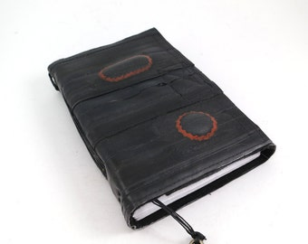 Journal, recycled bicycle inner tube, handmade blank, medium. Velcro closure