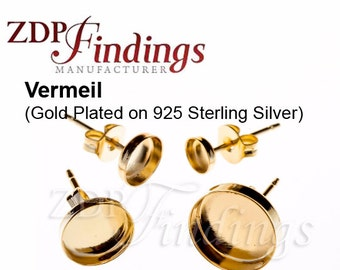 10pcs x Round Vermeil Bezel Earring Cups Shiny Gold Plated on 925 Sterling Silver, Ear Backs included, Choose your Size (61000SHGPV)