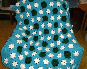 Custom Crocheted Frog Froggy Afghan for Children Gift Present Christmas Birthday New Baby Shower Made to Order 6-8 weeks delivery