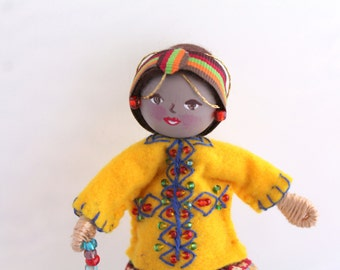 Handmade Felt Art Doll African Girl in Traditional Clothes, Handmade doll ornament
