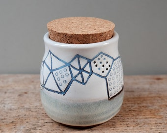 Light Blue and White Sgraffito Pot with Cork Lid