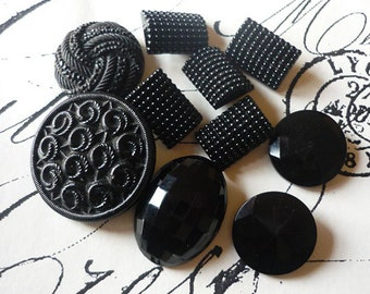 Vintage Black Glass Button Mix No.22 (10 buttons)