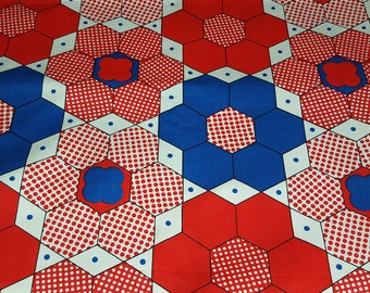 SALE vintage 60s mod novelty fabric featuring red, white and blue hexagon print, 1 yard