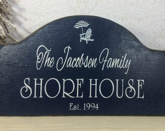 SHORE HOUSE sign, personalized hand painted wooden beach house sign, rustic family sign, est date, beach cottage sign, Jersey shore sign
