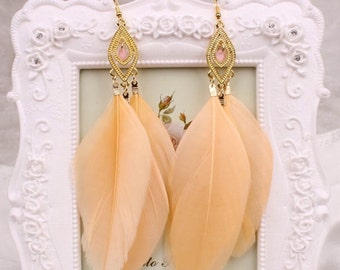 Dangle Earrings Goose Feathers SUPERDEAL