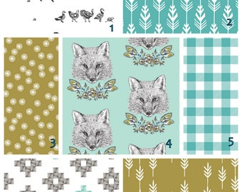 Foxy Loxy Olive Teal crib bedding set  -   Modern Crib bedding set -  Design your own 3 pcs. SET Custom crib Bedding