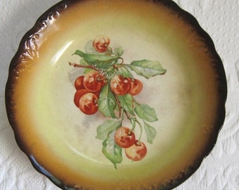 cherry plate . vintage cherry plate . Victorian plate . lebeau porcelain . lebeau plate . Victorian cherry Plate