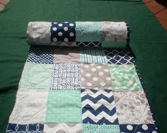 Nautical Baby quilt,navy blue,grey,mint green,Baby boy bedding,baby girl quilt,Patchwork Crib quilt,chevron quilt,modern,toddler,Mint Julep