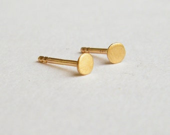4mm dot stud earrings, solid 14k gold earrings, 14k gold stud earrings, round stud earrings, geometric gold earrings, 2mm stud earrings