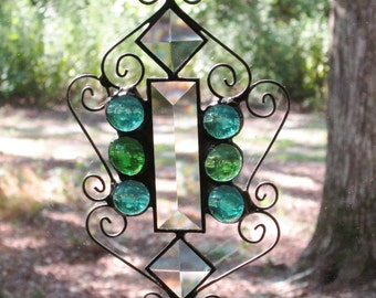 Stained Glass Suncatcher - Clear Bevels with Light Turquoise and Green Nuggets and Wire