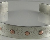 Sterling Silver Cuff Bracelet  with Copper Rivets- Hammered, Antiqued