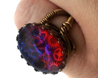Steampunk Jewelry - Ring featuring a Breathtaking Vintage Genuine Dragon's Breath jewel and antique brass gears
