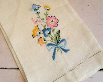 Embroidered Linen Tea Towel Pale Yellow With Pink Orange Blue Flowers Floral