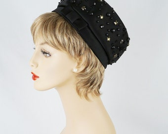1960s Hat Black Satin Beaded Pillbox - Lilly Dache
