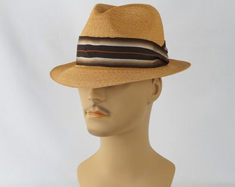 Vintage 1960 Fedora Straw Resistol Trilby with Original Hat Box Sz 7