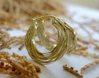 Layered lines 18kt yellow gold hoop earrings