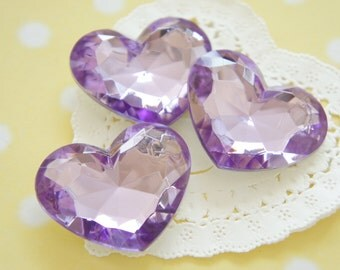 3 pcs High Quality Big 3D Heart Rhinestones/Gems (35mm42mm) Purple