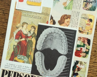 I Want to be a Dentist Vintage Teeth Collage, Scrapbook and Planner Kit Number 2302