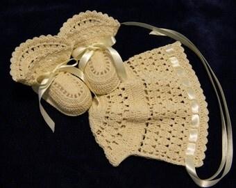 Crochet Christening Bonnet and Booties,  Ecru, Newborn Baby Boy