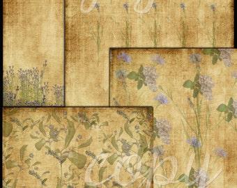 Instant Download - Botanical  Paper Pack  -  Printable Digital Collage Sheet - Digital Download