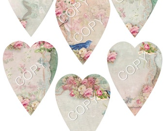 Instant Download   Victorian Hearts -  Collage Sheet - Printable Download - Gift Tags - Scrapbook