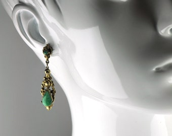 Victorian Style Gold and Green Post Dangle Earrings