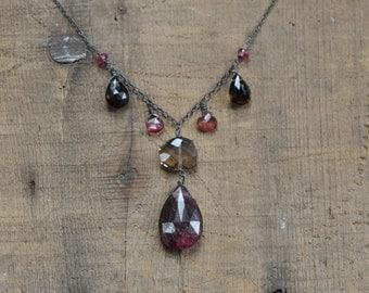 Smoky Quartz and Pink Tourmaline Gemstone Necklace