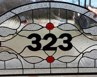 Stained Glass Transom - Traditional design -clear & red- (TW-69)