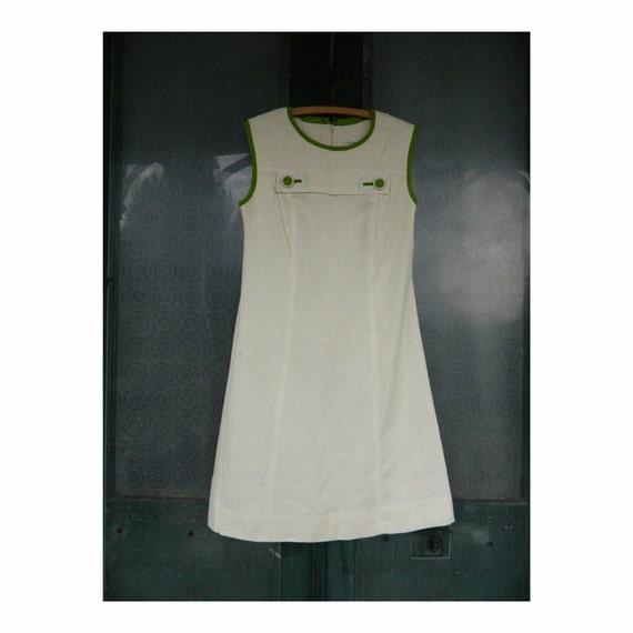 Vintage Parkshire Original Sleeveless Shift Dress -S/M- Cream Rayon/Linen