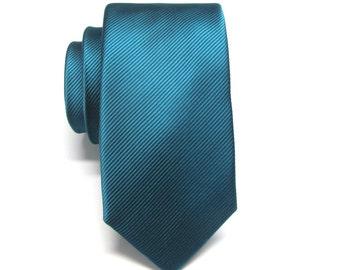 Mens Ties. Teal Peacock Blue Tonal Stripe Skinny Necktie
