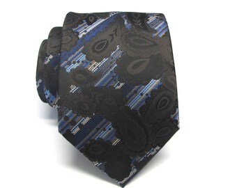 Mens Tie Necktie Blue Stripes Brown Paisley Mens Silk Narrow Neck Tie