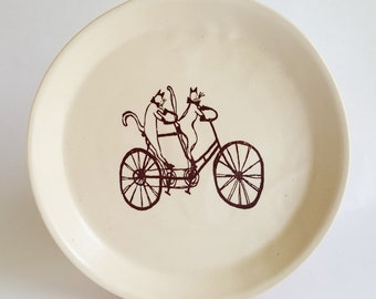 small plate, ceramic plate, salad plate, dessert plate, luncheon plate, crazy cat lady plate, cat plate, cat lover plate, white plate, plate