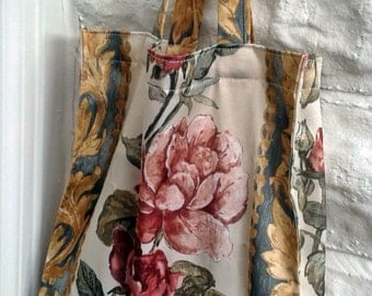 Reusable Shopping Bag, Grocery Bag, Upcycled Bag, Rose Print Fabric