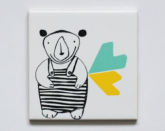 Small screenprinted tile Bear in a bathing suit