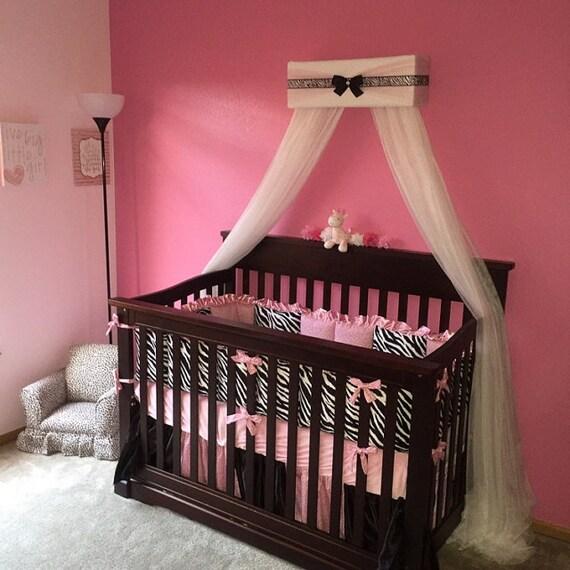 Girl nursery baby bedroom bed canopy pink zebra crown tiara for Nursery crown canopy
