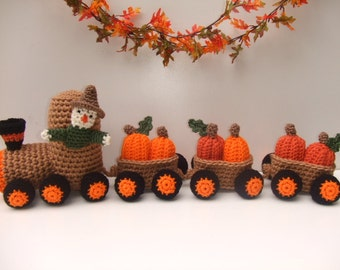 Crochet Pattern for Pumpkin Train, Crochet Pumpkin Express, PDF Digital Download